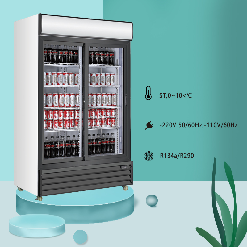 Double Sliding Door Upright Glass Door Beverage Refrigerator