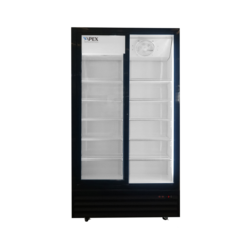 Double Sliding Door Upright Commercial Beverage Cooler