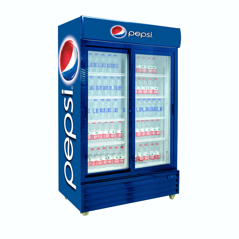 Double Sliding Door Upright Beverage Cooler Glass Door