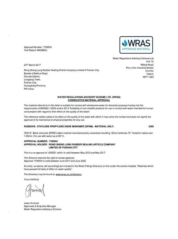 WRAS drinking water safety certification
