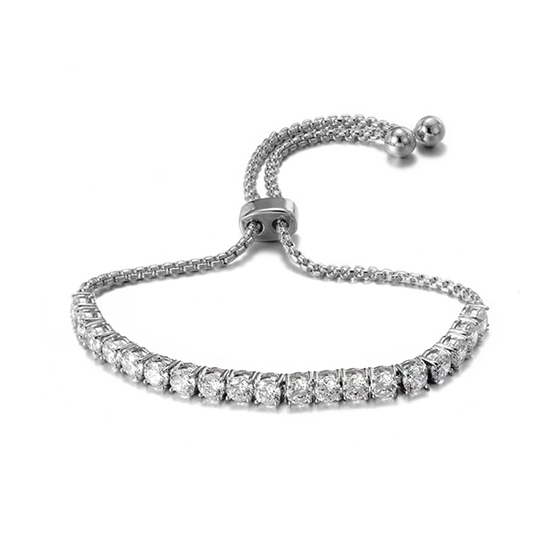 BR3419-4mm Bolo bracelet with 2mm Round box chain 10inch in Sterling Silver under Rhodium plated from Jewelry manufacturer in China