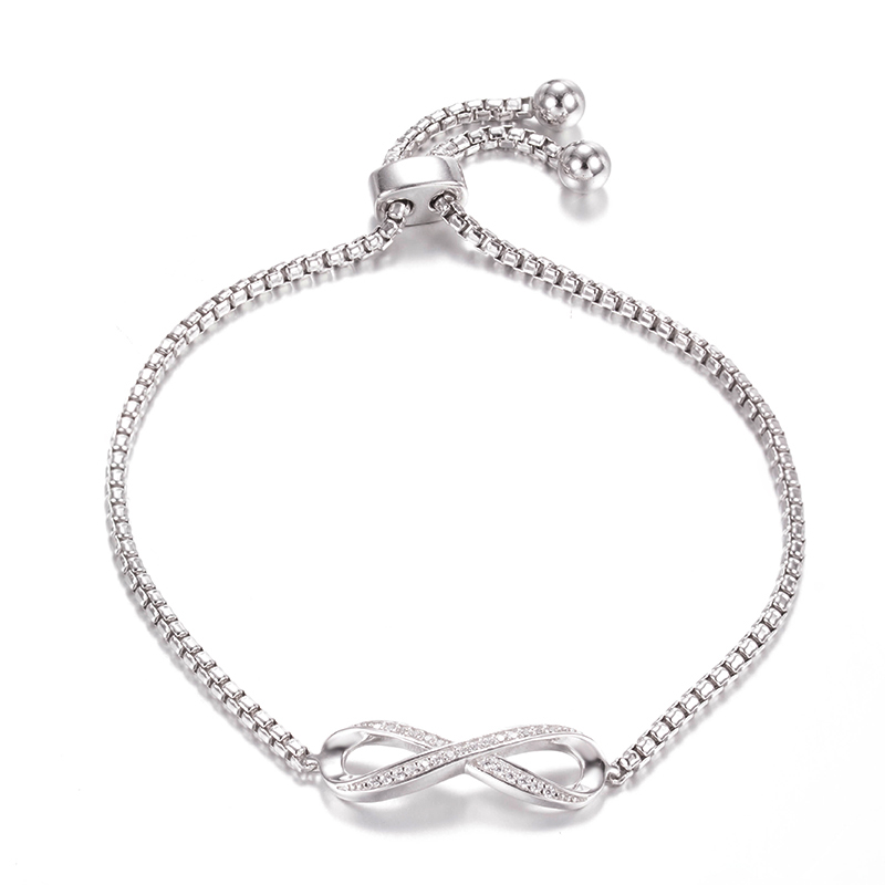 BR3424 The beloved infinity symbol Bolo bracele with 2mm Round box chain 10inch in Sterling Silver with Rhodium plating from China reliable Jewelry supplier