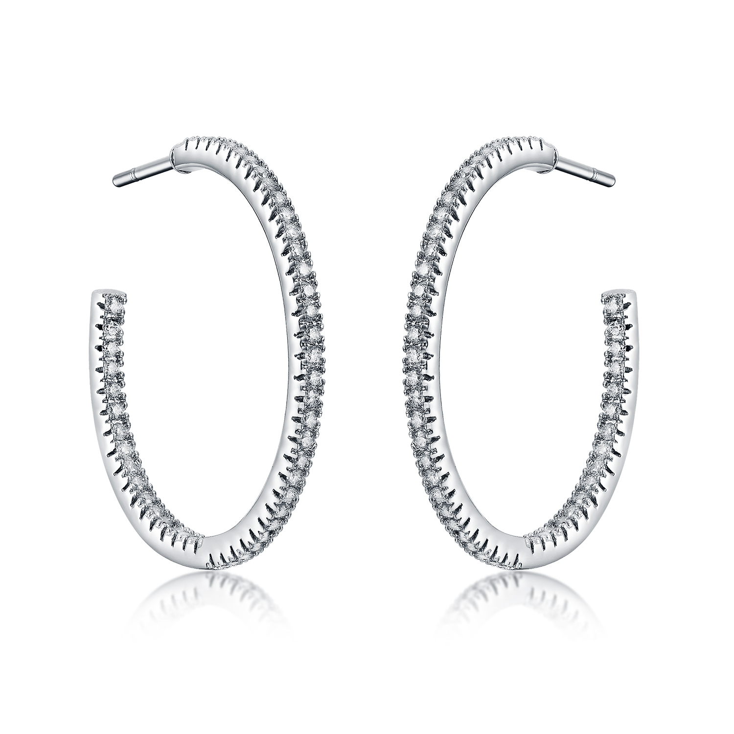 ER4511 Pave Setting CZ hoop Earring with Rhodium plating in Sterling Silver from Top Jewelry manufacturer in China