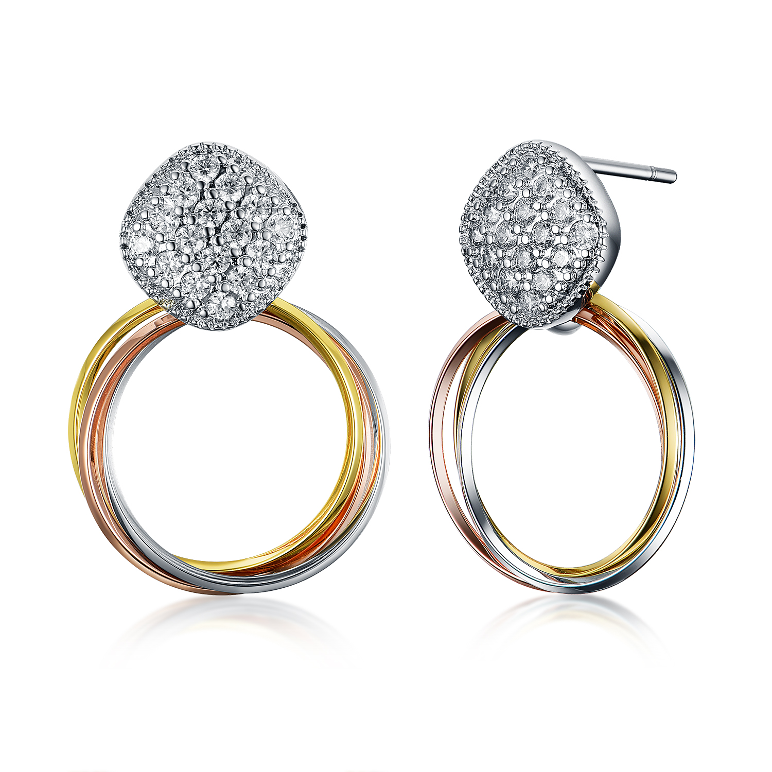 ER4552 Pave CZ Square Earring with Tri-color circles in Brass/Copper China reliable Jewelry vendor