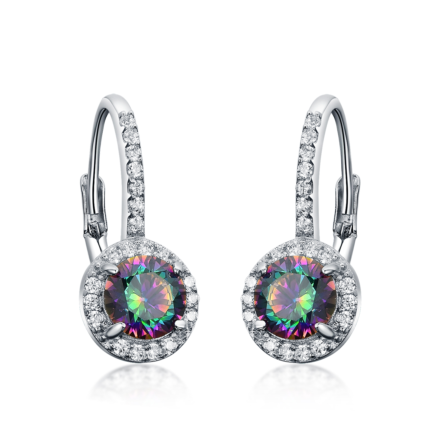 ER4560 Mystic fire CZ Leverback Earring with Rhodium in Sterling Silver from Jewelry exporter in China