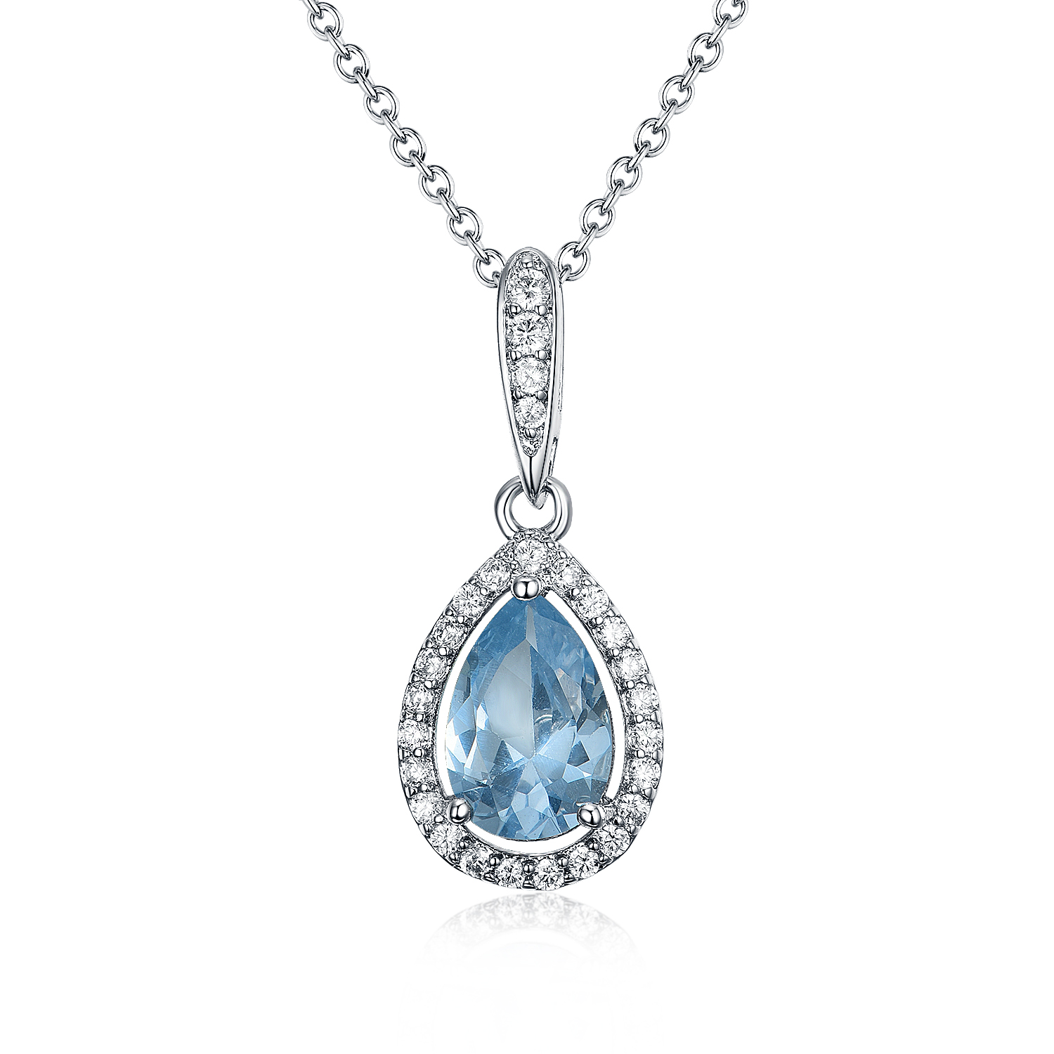 ST2728 Pear shape Aquamarine Spinel with small White CZ surrounded Earring/Pendant/Ring Set with Rhodium plating in Sterling Silver from China Top Jewelry exporter