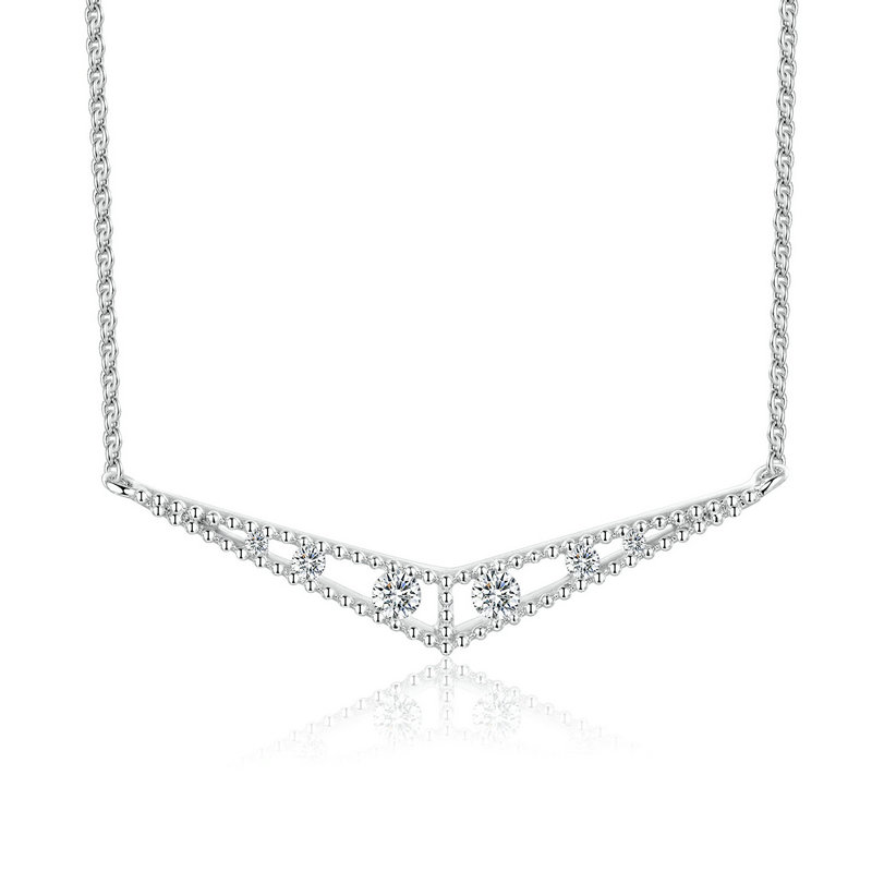 PE3405 Bezel Cubic Zircon V shape Rhodium Necklace with 1.2mm cable chain in Sterling Silver from China Top Jewelry supplier
