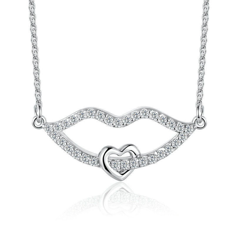ST2559N Pave CZ Lip Rhodium Necklace with 1.2mm cable chain in Sterling Siver from trustable Jewelry manufacturer in China