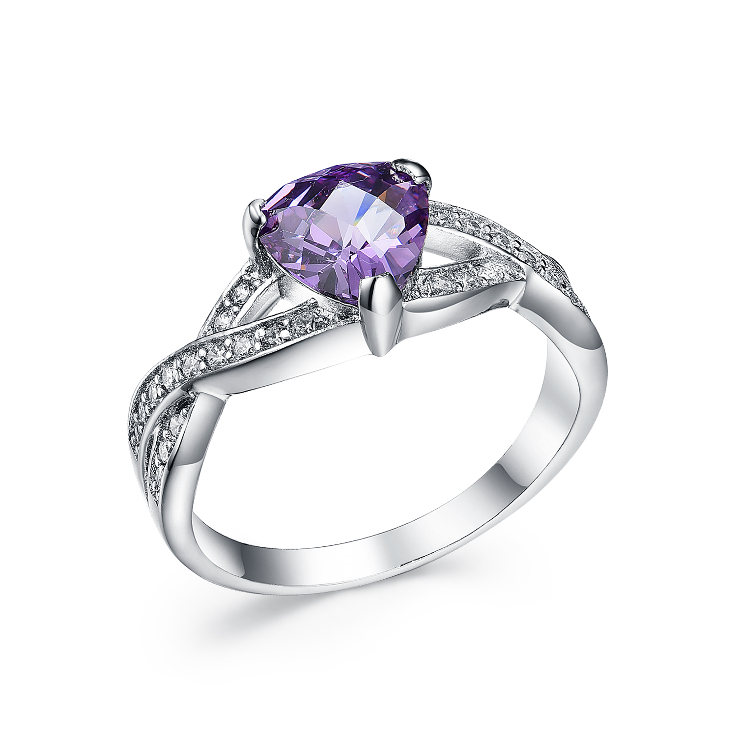 RI3134 Purple Triangle Ring with Wax setting CZ in Rhodium from China Top Jewelry wholesaler