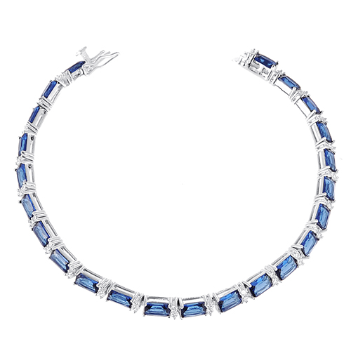 ST2055B Rectangle Sapphire & White Tennis bracelet with toung Clasp in 7.25 inch under Rhodium plated from Jewelry manufacturer in China