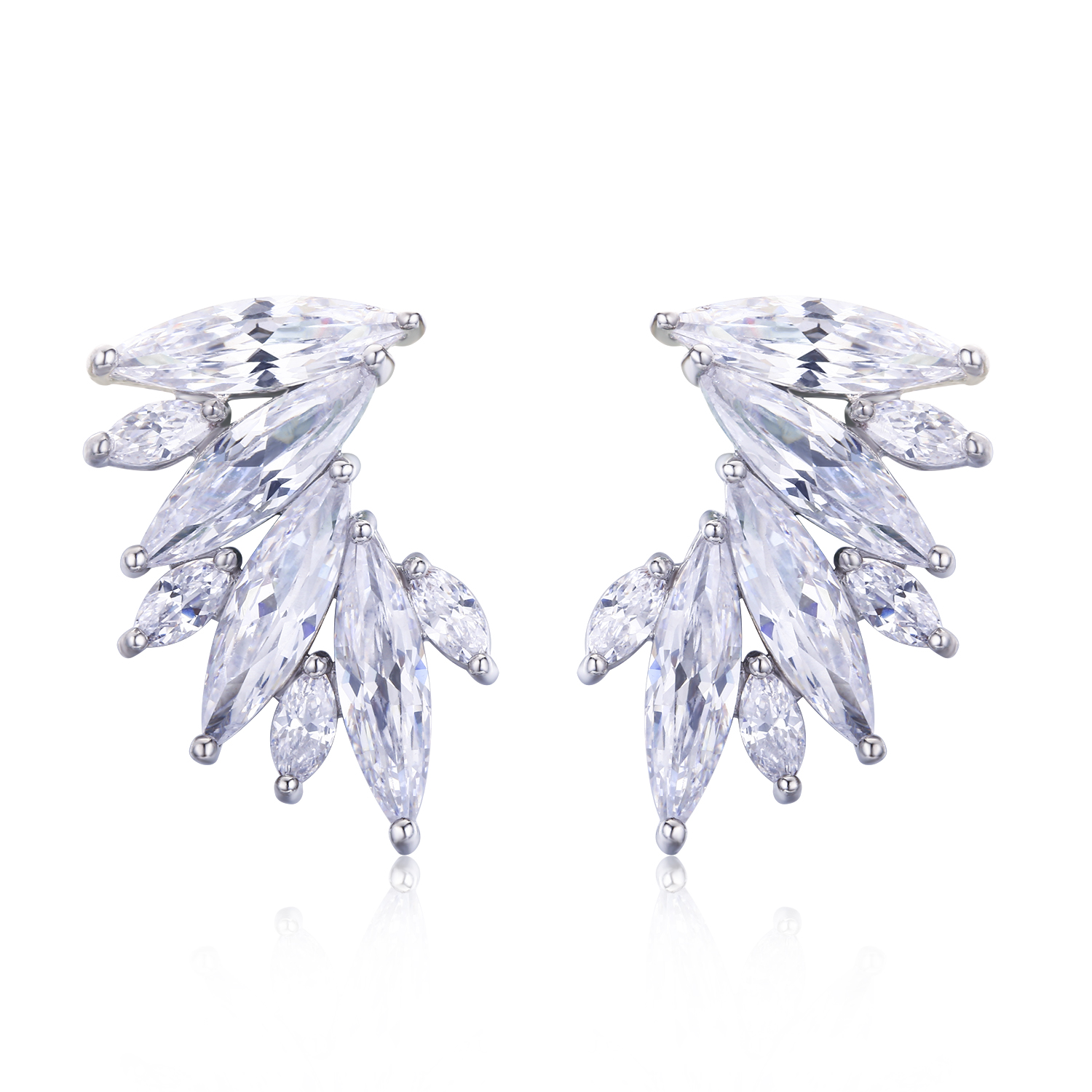 ER3422 Marquise CZ folower Earring With Rhodium plating in Brass/Copper from Top Jewelry manufacturer in China