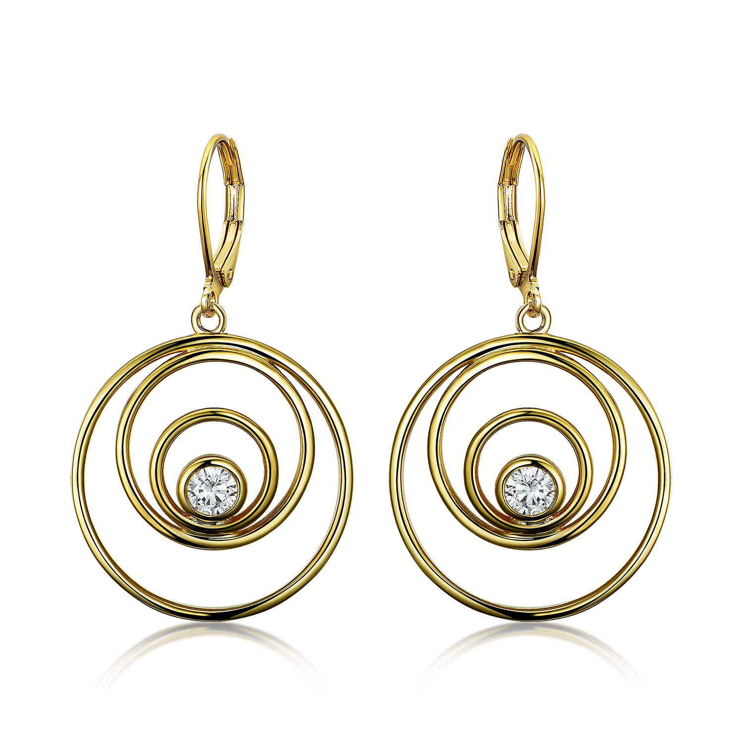 ER4554-14K Gold Multi Open Circles drop Earring in Brass/Copper from China Jewelry supplier