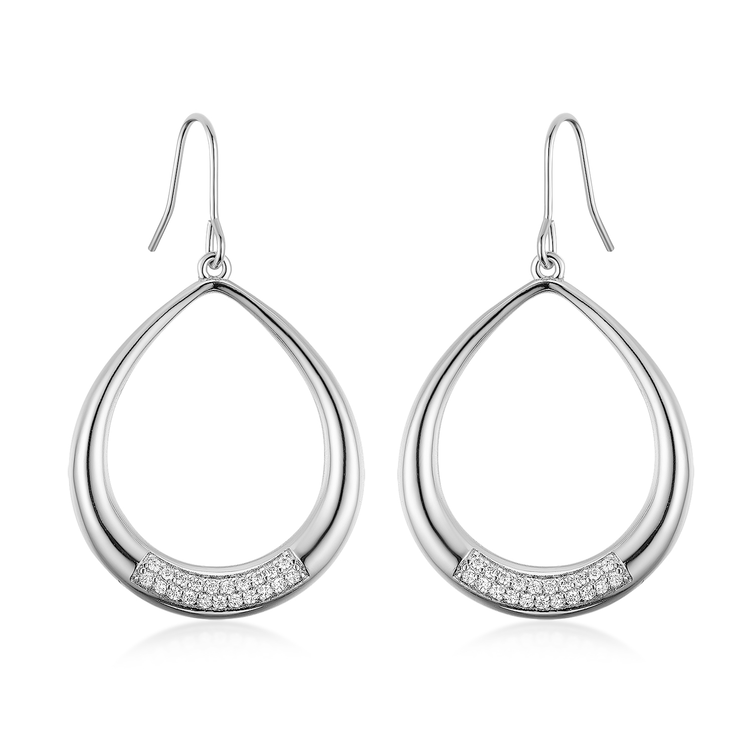 ER4556 Pear shape drop Rhodium fishhook Earring with in Sterling silver under Rhodium plating from Top Jewelry wholesale in China