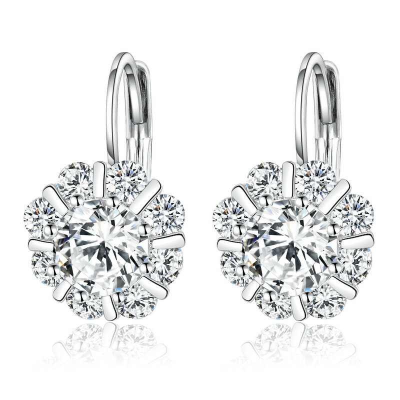 ST2337 Bezel Cubic Zircon Leverback Earring/Necklace/Ring Jewelry Set with Rhodium plating in Sterling Silver from trustable Jewelry vendor in China