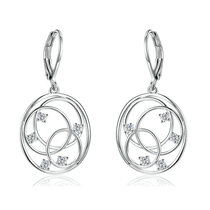 ST2436 Multi Open circles Leverback Earring/Necklace with Rhodium plating in Brass/Copper from China Jewelry factory