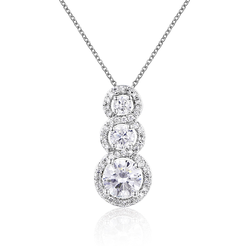 ST2140P Three-stone with small White CZ surrounded Rhodium Pendant suspends along a 1.2mm cable chain in Sterling Silver from  Top jewelry manufacturer in China