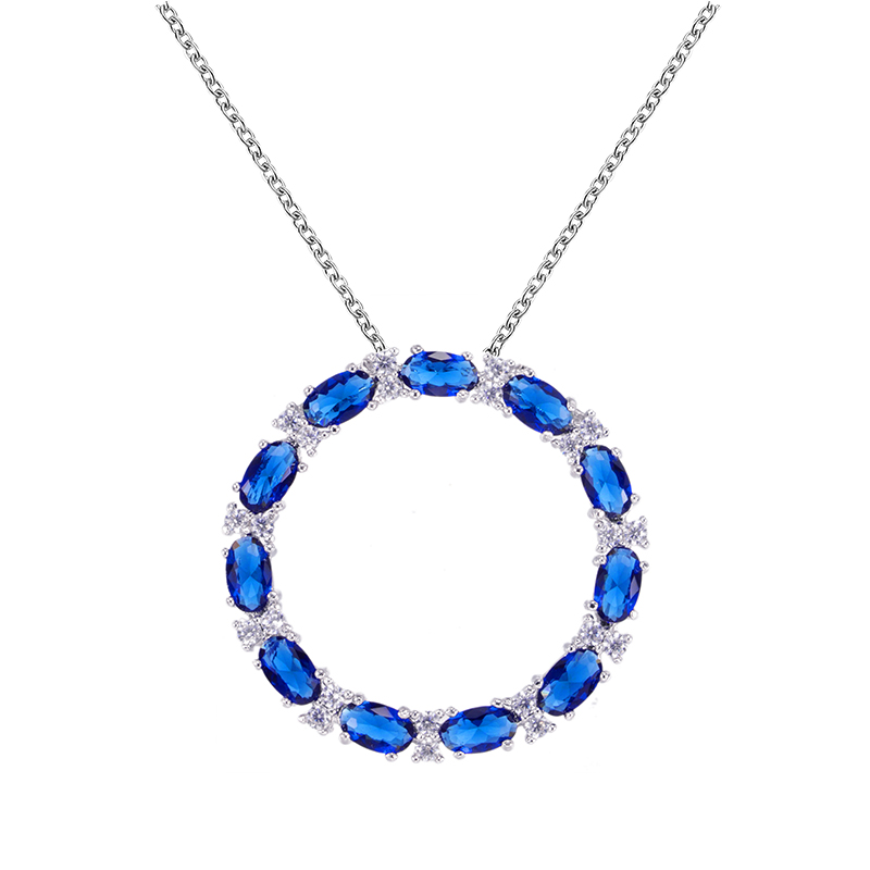ST2571P Oval Sapphire & White Open Circle suspends along a 1.2mm cable chain with Rhodium plating in Sterling Silver from China Jewelry wholesaler