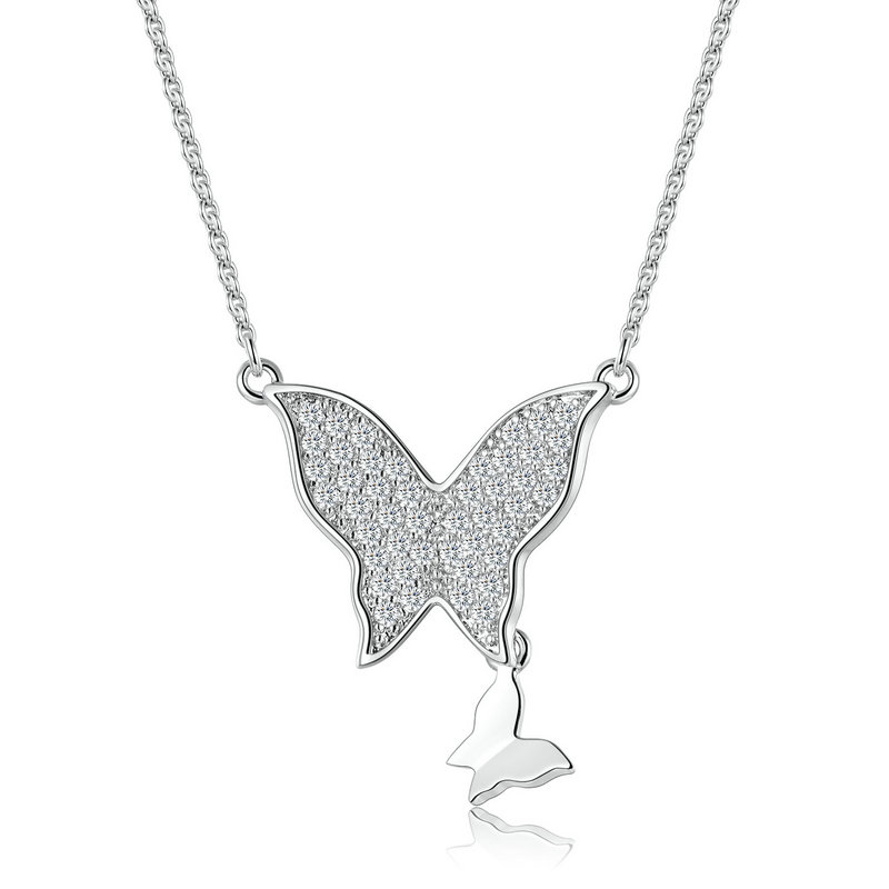 ST2401N Pave CZ butterfly with a polish small butterfly Rhodium Necklace with 1.2mm cable chain in Sterling Silver  from China Top Jewelry supplier