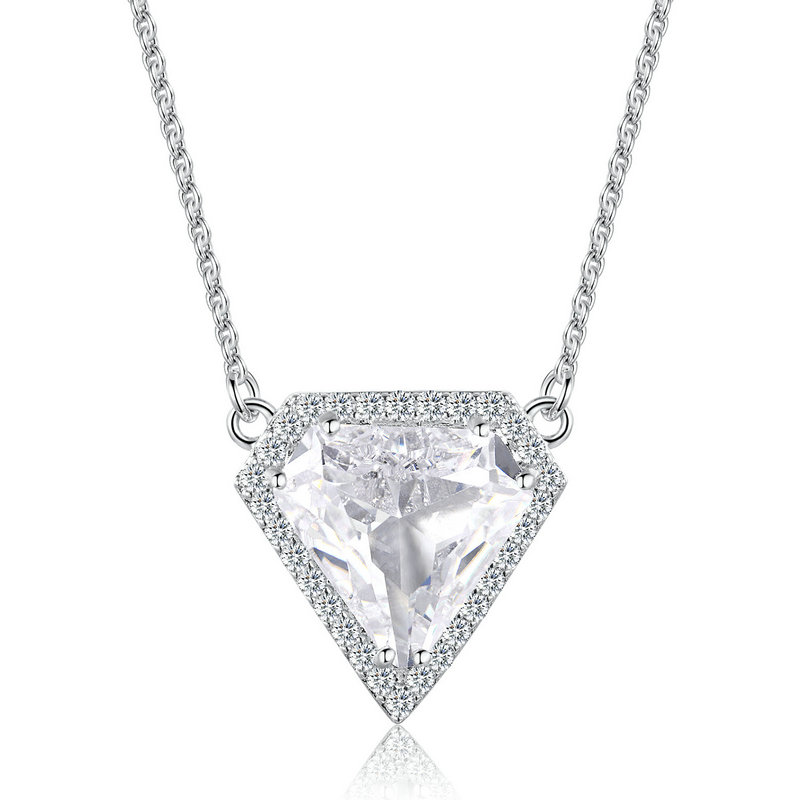 ST2583N Diamond shape CZ & samll CZ surrounded Rhodium Necklace with 1.2mm cable chain in Sterling Silver from China Top Jewelry vendor
