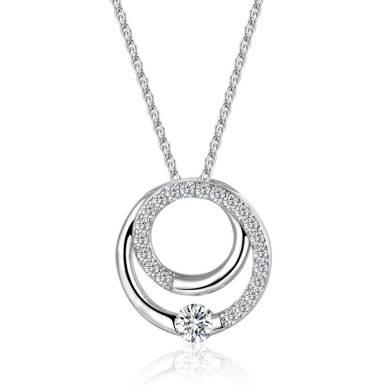 ST2590P Double Eternity Circle Pendant suspends along a 1.2mm cable chain in Rhodium from China trustable Jewelry exporter
