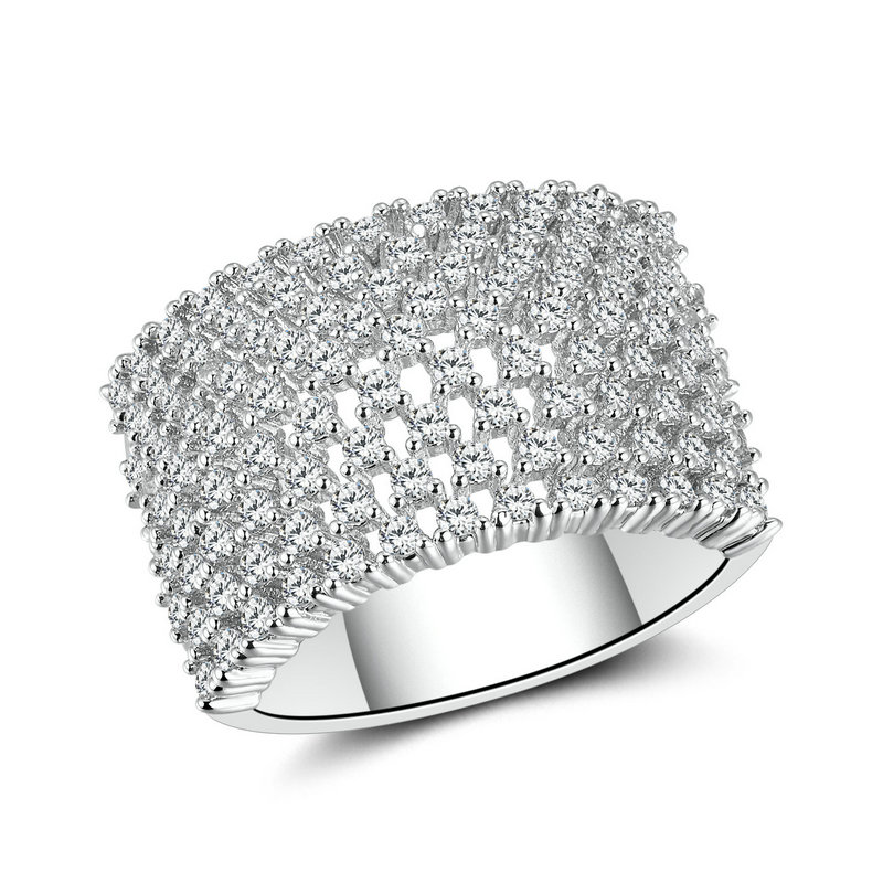 RI4409 Luxury Pave setting Ring under Rhodium plated in Brass from Top Jewelry factory in China.