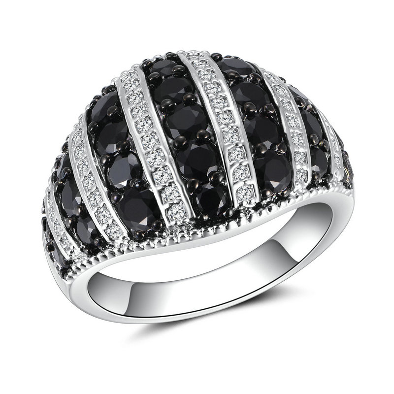 RI4421 Black Spinel in Sterling silver/Brass with Black Rhdoium plating from reliable Jewelry manufacturer in China