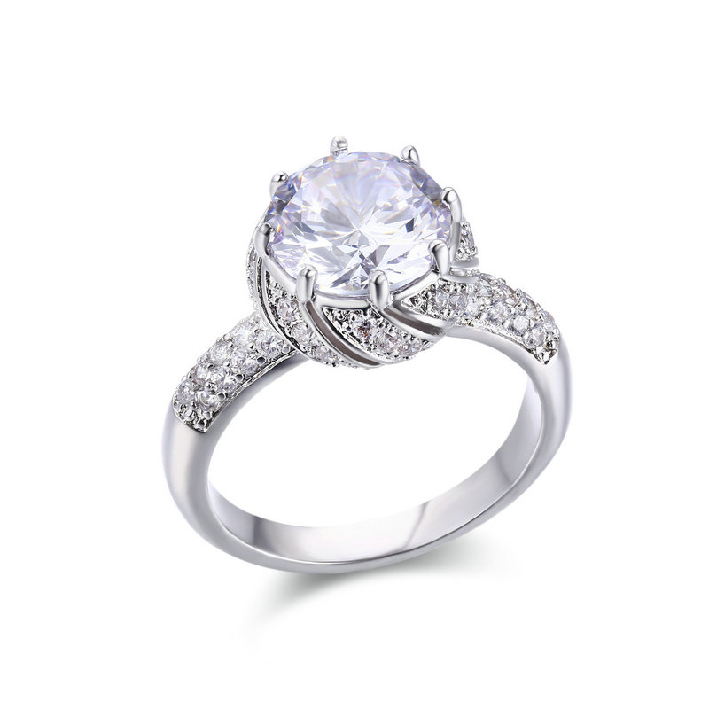 RI4432-10mm AAA White CZ in Center with small White CZ surrounded Royal-Inspired Engagement and Wedding Rings with Rhodium plated in Sterling Silver from China Jewelry supplier