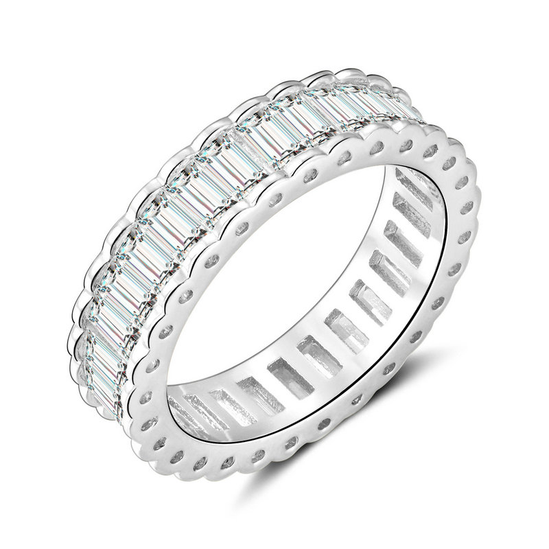 RI4438 Bezel Baguette CZ Band Ring in Brass/Sterling Silver under Rhodium plated from China  Top Jewelry manufacturer