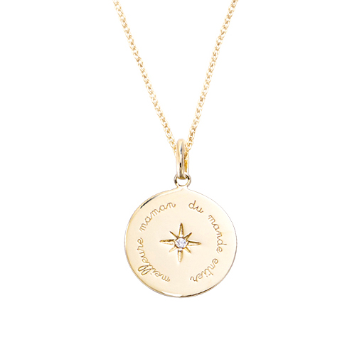 PE3490-Power & Timeless Round Pendant with Star in center & inspired words around, plated in 18K gold from China Top Jewelry manufacturer