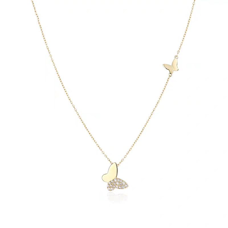 PE3494-Two butterflies necklace with White Stone in Sterling silver plated 18K gold from Jewelry Supplier in China