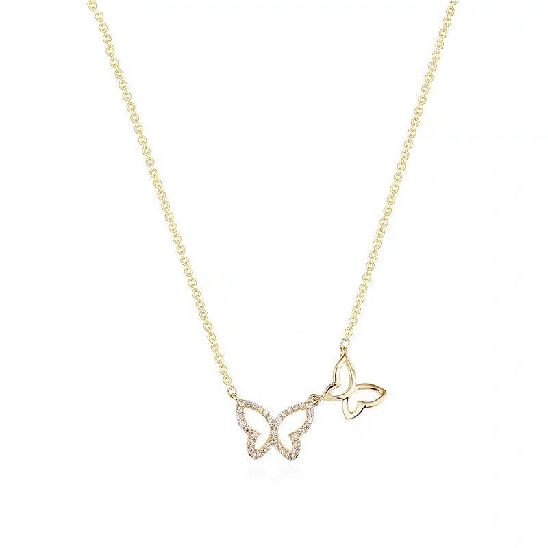 PE3495-Two butterflies necklace with White Stone in Sterling silver plated 18K gold from China Top Jewelry manufacturer