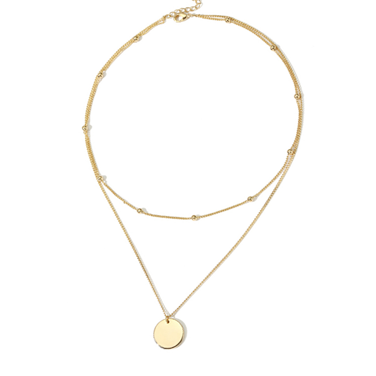 PE3499- Popular Two layers chain necklace with a coin in Sterling Silver under 14K gold plated from Top Jewelry Manufacturer in China
