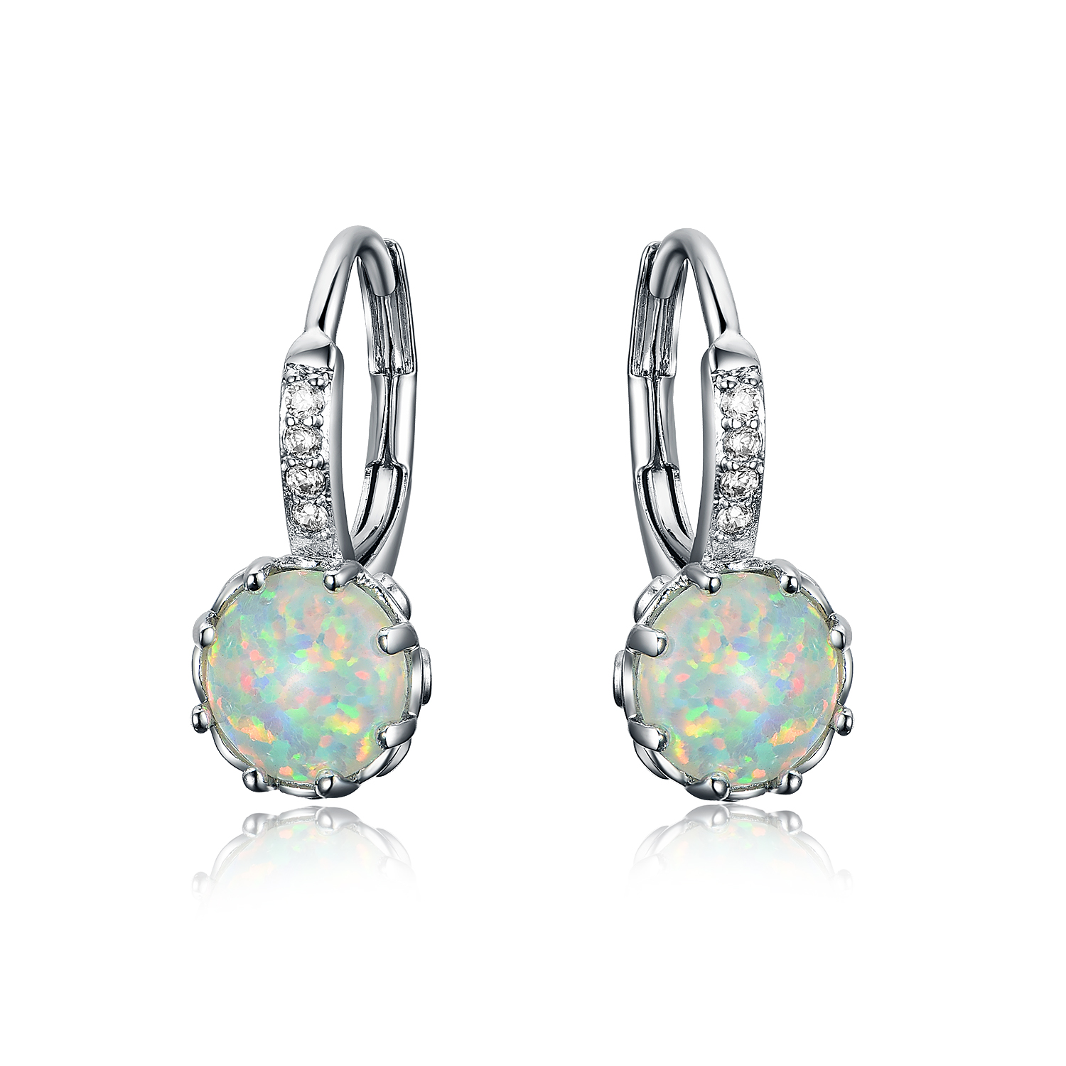 ST2395-Round 7mm White Opal Leverback Earring & Necklace in Sterling Silver with Rhodium plating from China Top Jewelry factory