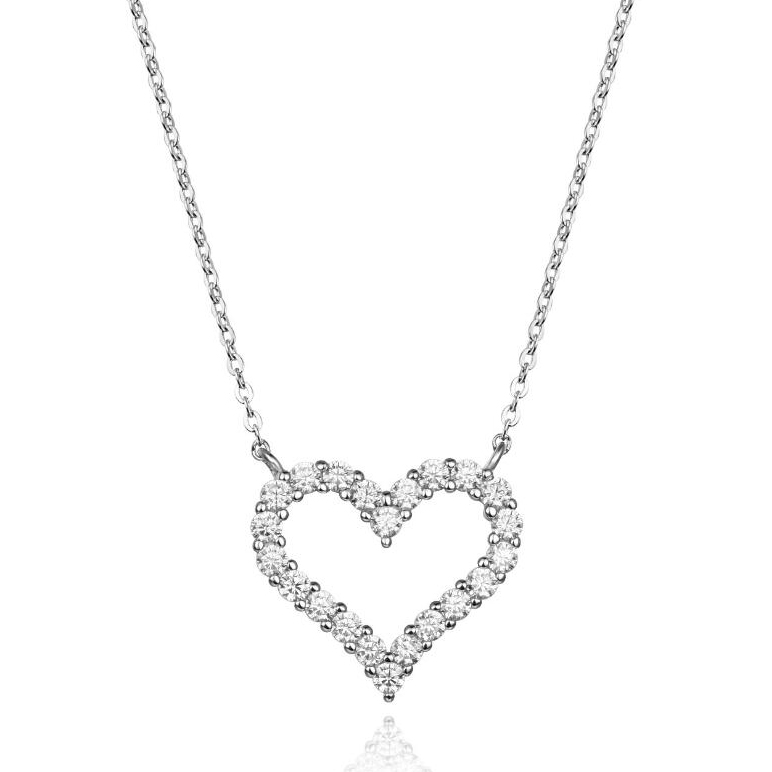 ST2573-Timeless Heart Post Earring and Necklace With prongs setting White CZ in Sterling Silver with Rhodium plating from China Top Jewelry Supplier