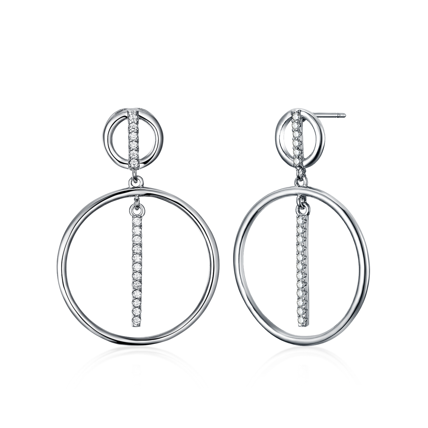 ST2689-Dangling Circle Earring/Necklace with White CZ plated Rhodium from China Top Jewelry supplier