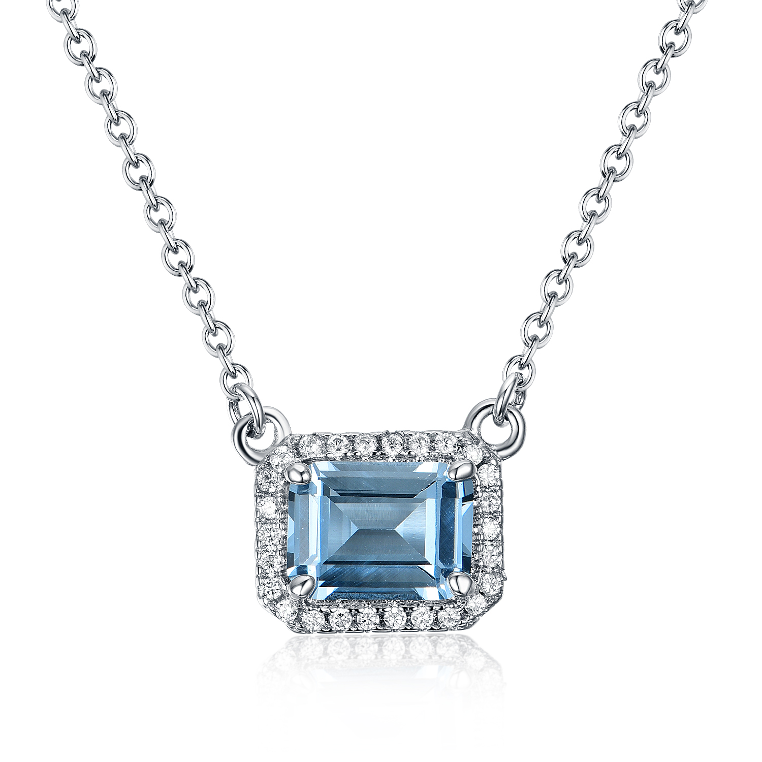 ST2674-Emerald-cut Aquamarine center,surrounded White Cubic Zircon Earring/Ring/Necklace in Sterling Silver plated Rhodium from China Top Jewelry factory