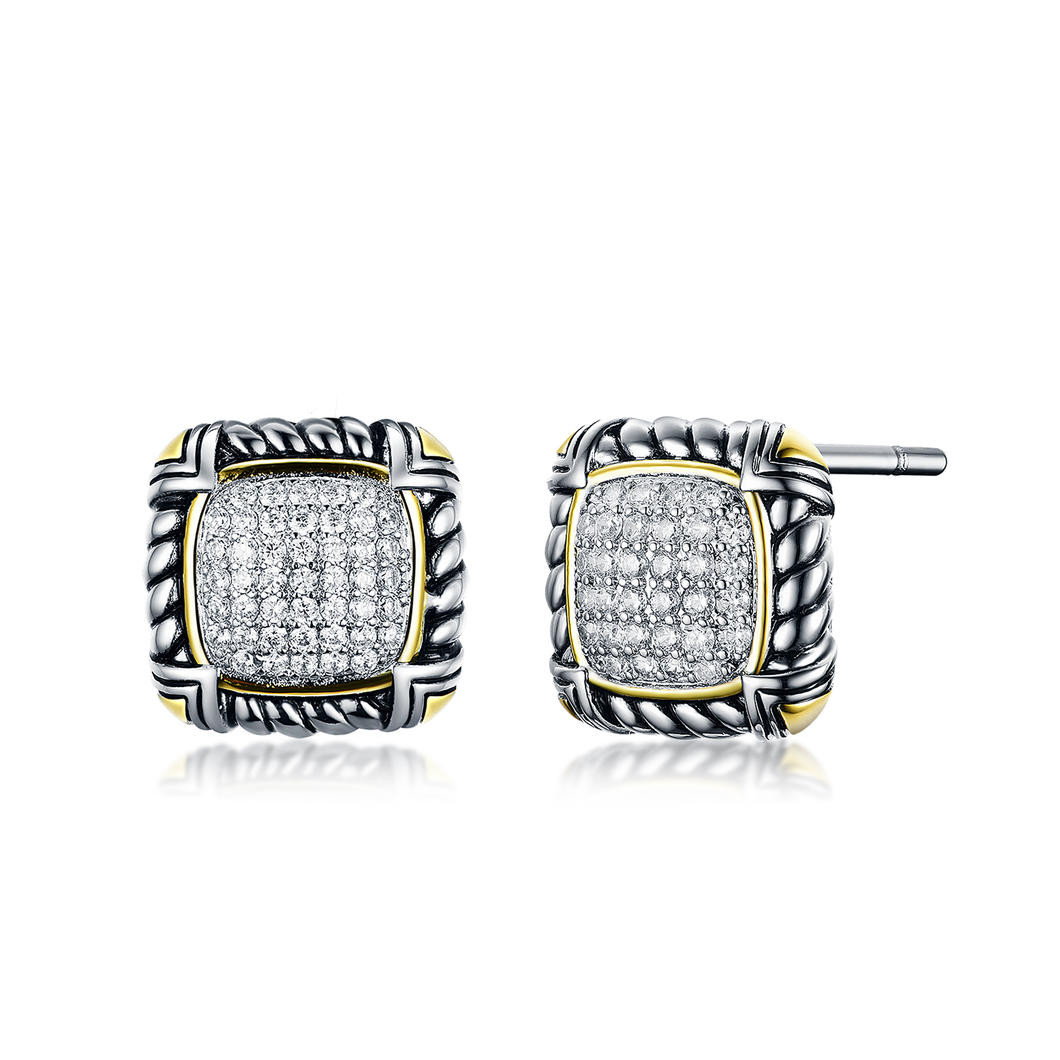 ST2697E-Designer inspired Cable texture 2-tone Square shape Earring with White Pave Cubic Zircon in Brass/Copper from China Top Jewelry vendor