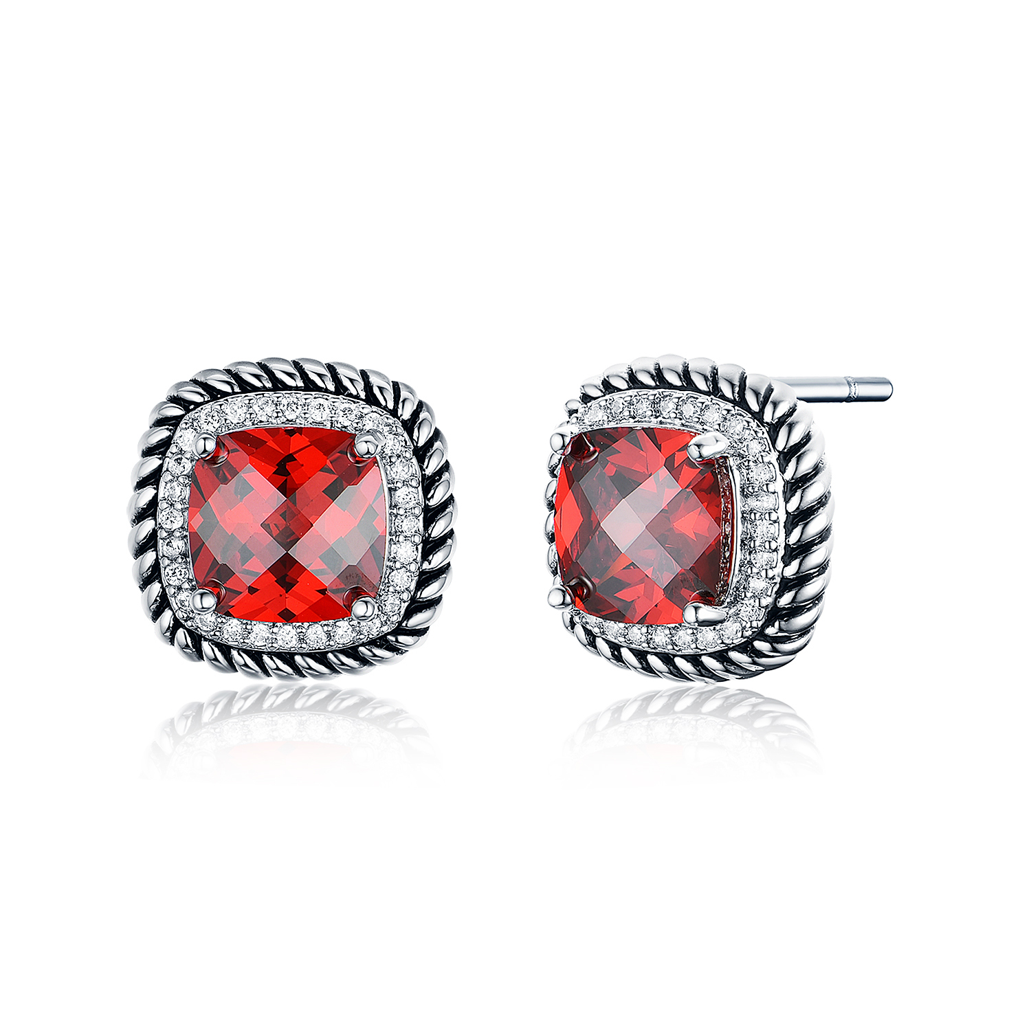 ST2640E- Designer inspired Cable texture Square Earring with Square Garnet Cubic Zircon & small White CZ surrounded under Rhodium plated from China Top Jewelry vendor