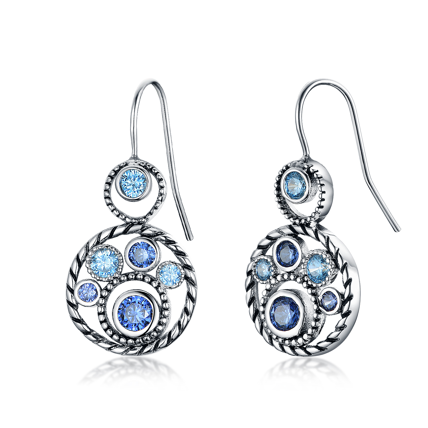 ST2652E-Designer inspired Cable Circel Earring with bezel setting Tanzanite CZ & Aquamarine Spinel  in Brass/Copper under Rhodium plated from China Top Jewelry factory