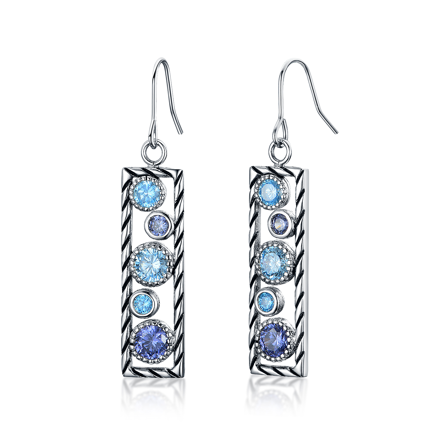 ST2696E-Designer inspired Cable texture dangling Earring with bezel setting Tanzanite Cubic Zircon & Aquamarine Spinel in Brass/Copper under Rhodium plated from China Top Jewelry factory