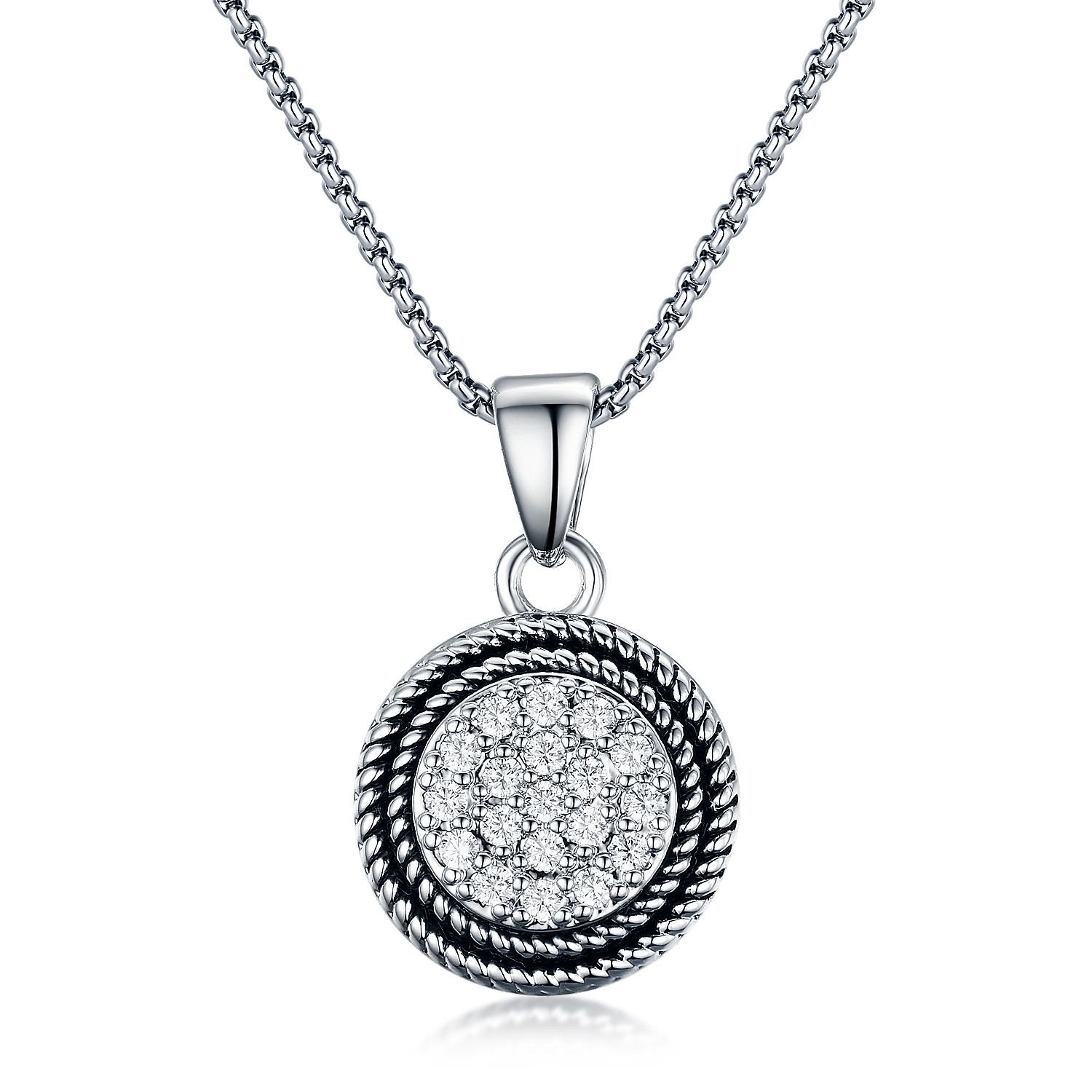 ST2680P-Designer inspired antique Cable texture Round Pendant with White Pave Cubic Zircon in Center under Rhodium plated from China Top Jewelry vendor