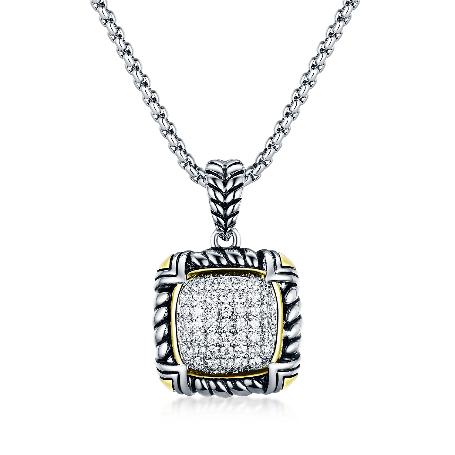 ST2697P-Designer inspired Cable texture 2-tone Square shape Pendant with White Pave Cubic Zircon in Brass/Copper from China Top Jewelry vendor