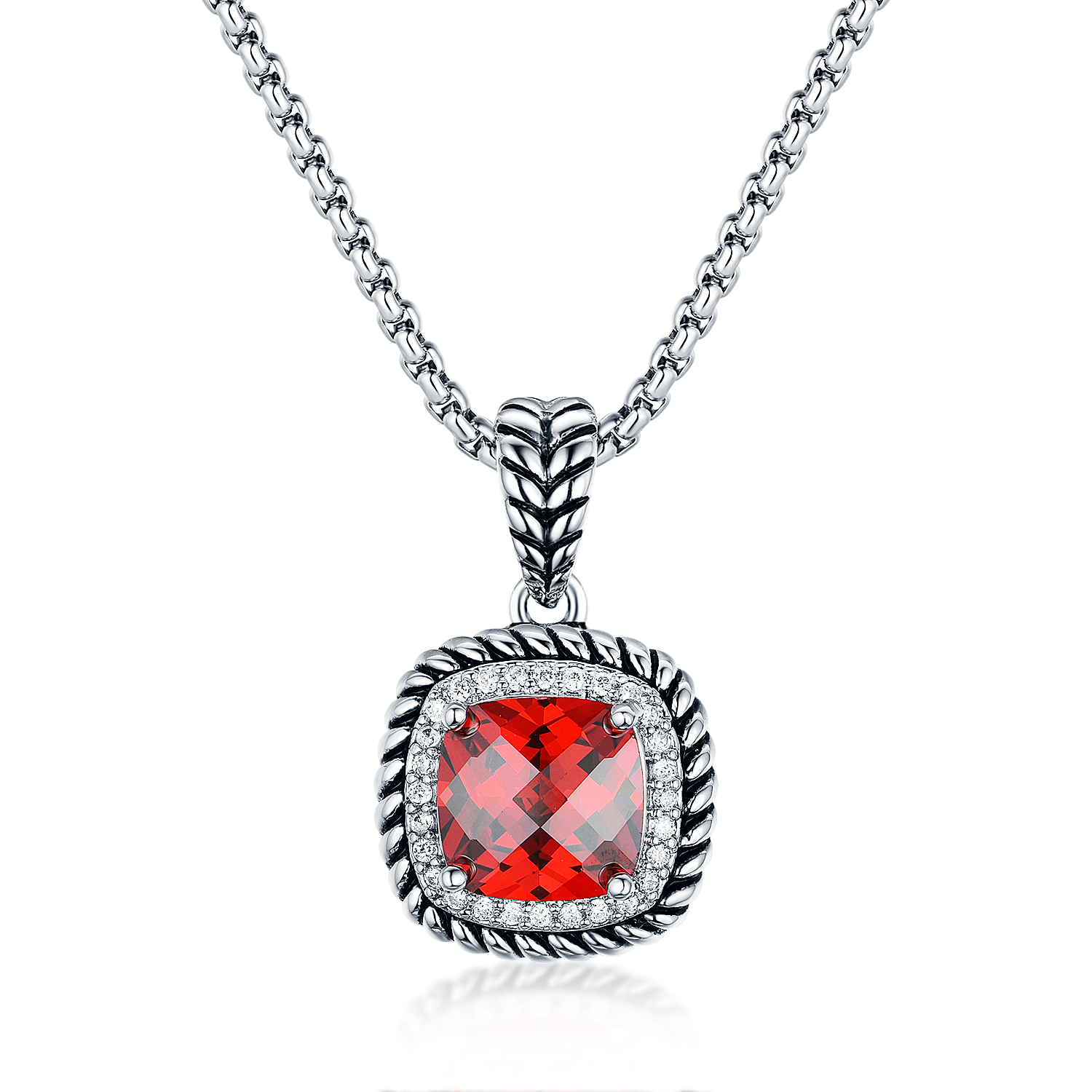 ST2640P- Designer inspired Cable texture Square Pendant with Square Garnet Cubic Zircon & small White CZ surrounded under Rhodium plated from China Top Jewelry vendor