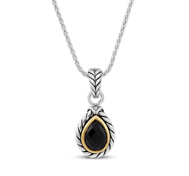ST2750P-Cable Designer inspired two-tone plating Pear shape Pendant with Bezel setting Pear shape Black CZ in Brass/Copper from China Top Jewelry Manufactuer