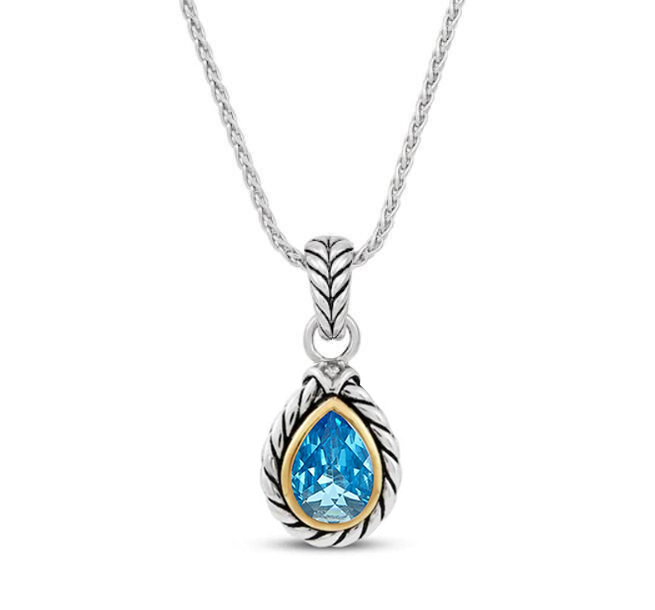 ST2750P-Cable Texture Designer inspired two-tone Pear shape Pendant with Bezel setting Pear shpe Aquamarine Spinel in Silver from China Top Jewelry Manufactuer
