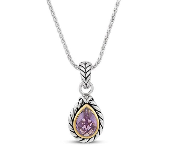 ST2750P-Cable Designer inspired 2-tone Pendant with Bezel setting Pear shape Amethyst Cubic Zircon in Brass/Copper from China Top Jewelry Manufactuer