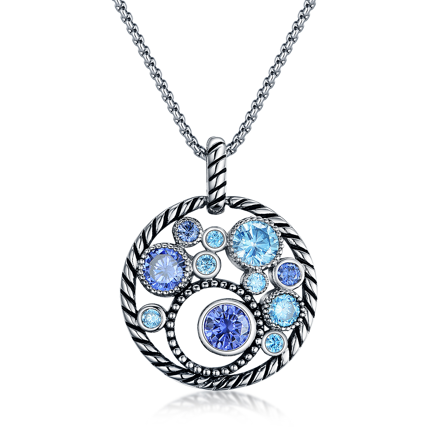 ST2652P-Designer inspired Cable Circel Pendant with bezel setting Tanzanite CZ & Aquamarine Spinel  in Brass/Copper under Rhodium plated from China Top Jewelry factory