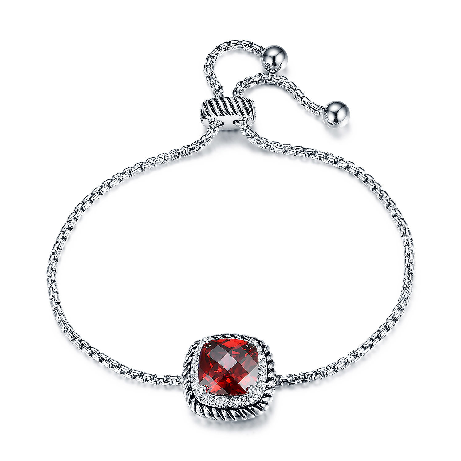 ST2640BR-Designer inspired Cable texture Square Bracelet with Square Garnet Cubic Zircon & small White CZ surrounded under Rhodium plated from China Top Jewelry vendor