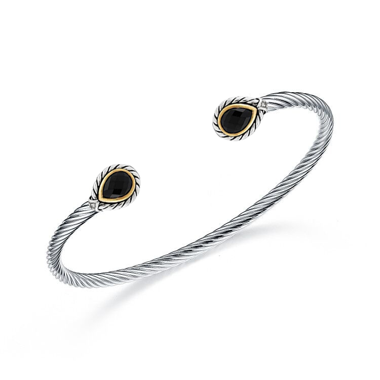 ST2750BA-Cable Designer inspired two-tone plating Pear shape Bangle with Bezel setting Pear shape Black CZ in Brass/Copper from China Top Jewelry Manufactuer