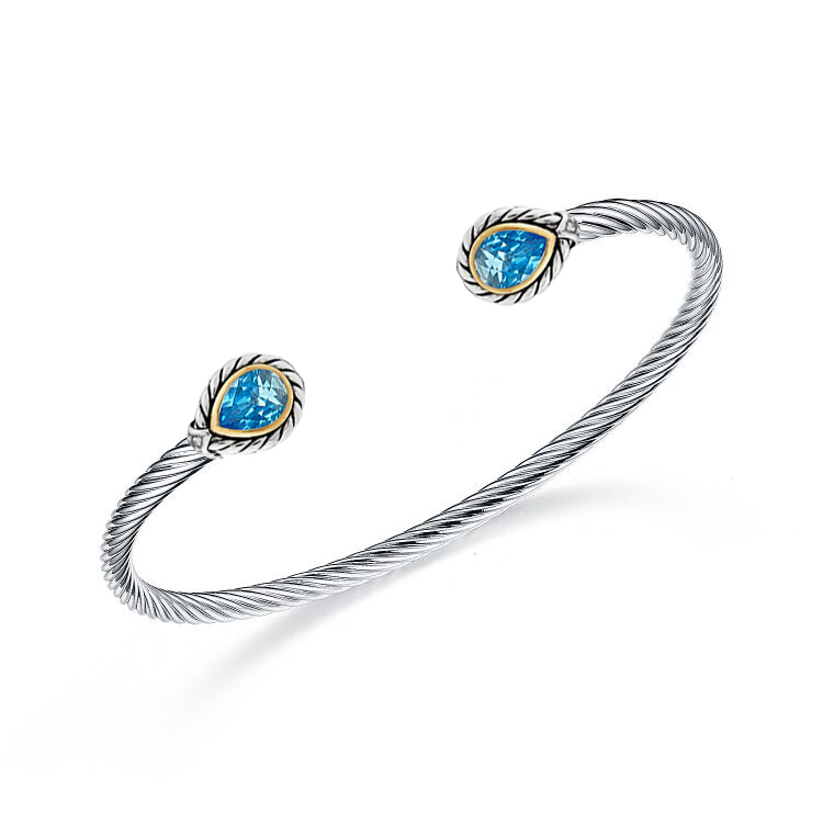 ST2750BA-Cable Texture Designer inspired two-tone Pear shape Bangle with Bezel setting Pear shpe Aquamarine Spinel in Silver from China Top Jewelry Manufactuer